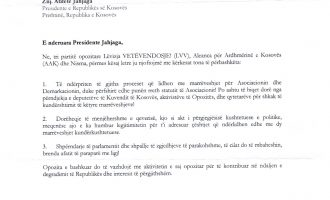 Letra e opozitës drejtuar presidentes