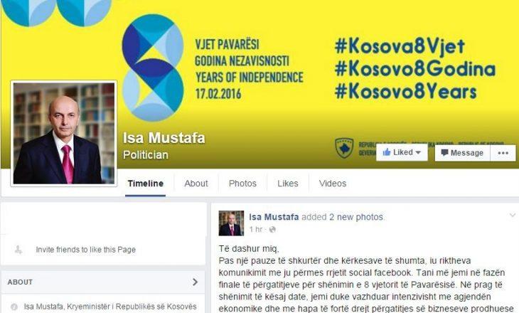 """Kryeministri rikthehet në Facebook """"për hir të qytetarëve"""""""