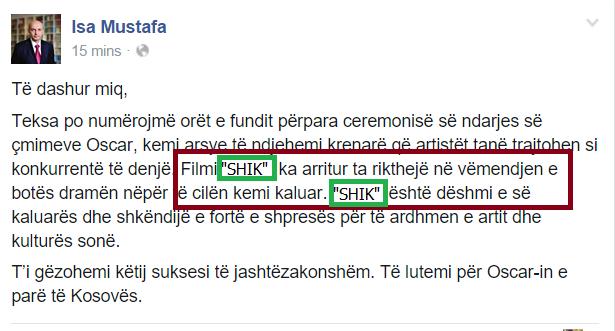 """Isa Mustafa ia huq përsëri: Në vend të filmit """"SHOK"""" shkruan """"SHIK"""""""