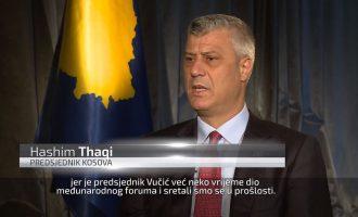 Thaçi flet shqip në televizionin serb