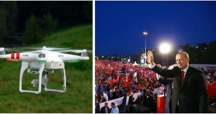 Droni që ndërpreu fjalimin e Erdogan