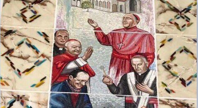 Ipeshkvi Dodë Gjergji pikturon veten si shenjtor në mozaikët e katedrales