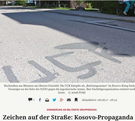 """Mbishkrim enigmatik """"UÇK"""" i shkruar me asfalt në mes të rrugës në Gjermani"""