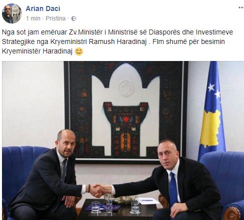 Djali i Nexhat Dacit bëhet pjesë e ekipit të Haradinajt