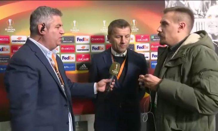 Pas përfundimit të ndeshjes trajneri serb thotë se shqiptarët i kemi miq