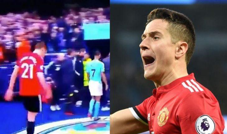 Ander Herrera e pështyn stemën e Manchester City (Video)