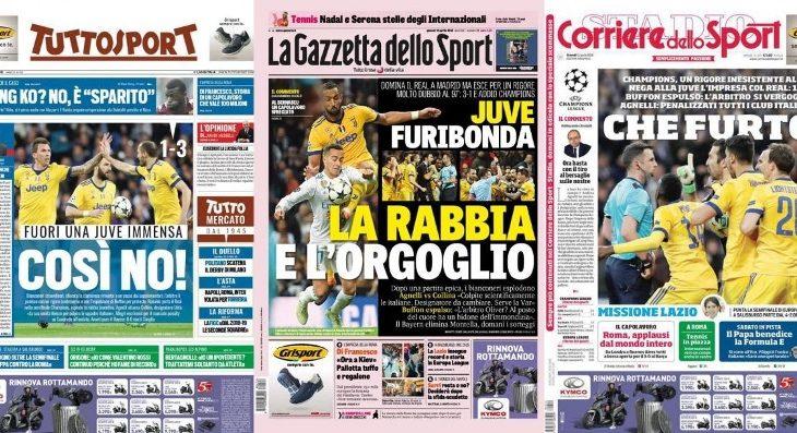 Titujt e gazetave italiane për penalltinë kundër Juventus
