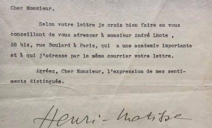 Letërkëmbimi i Henri Matisse me Sadik Kacelin