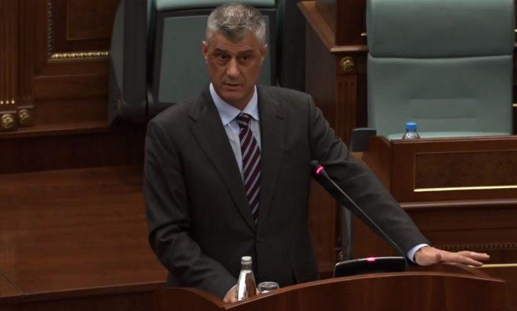 Thaçi falënderon deputetë për miratimin e ligjit të OJQ-ve me rekomandimet e tij
