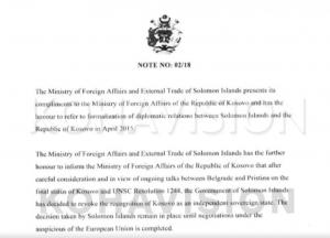 Republika e Kosovës dreit shperberjes: Ishujt Solomon kanë tërhequr njohjen e Pavarësisë së Kosovës