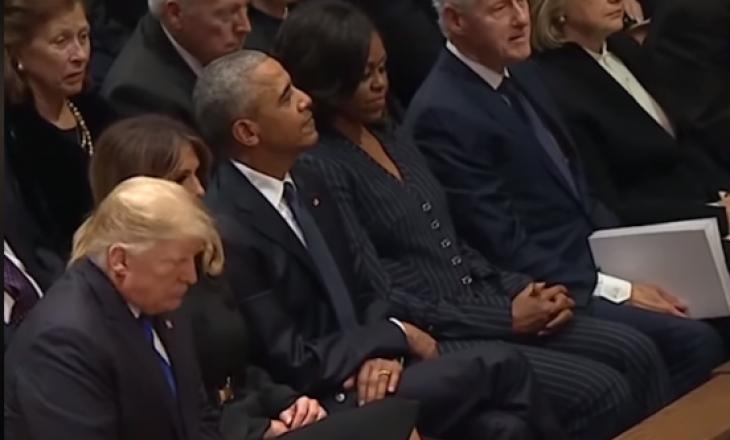Trump përshëndetet me Obaman, shmang Clinton në funeralin e Bush-it