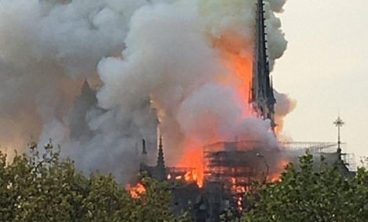 Zjarr i madh në katedralen e famshme në Paris
