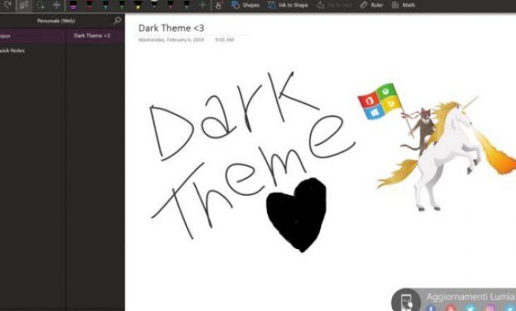 "Microsoft OneNote pajiset me ""Dark Mode"""