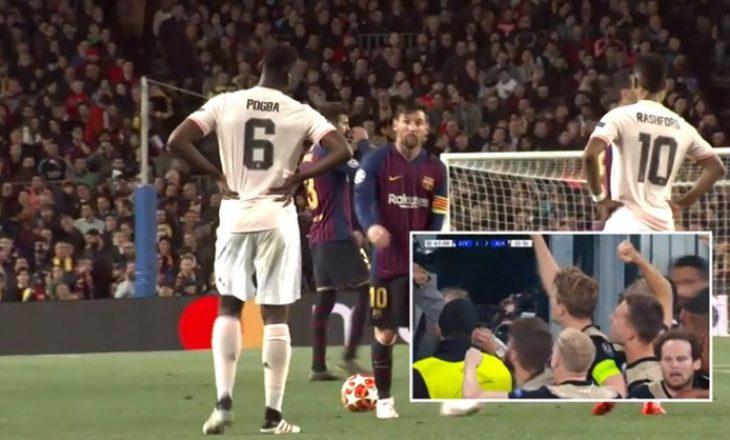 Momenti kur në 'Camp Nou' festohet goli i De Ligt dhe eliminimi i Juventusit