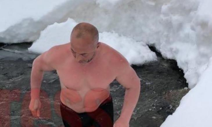 """""""S'qenka shumë ftohtë"""" – publikohet një video e Haradinajt teksa lahet në liqenin e ngrirë"""