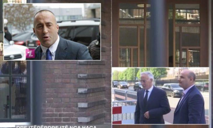 Pamje nga momenti kur Haradinaj dhe Krasniqi hyjnë për intervistim në Gjykatën Speciale