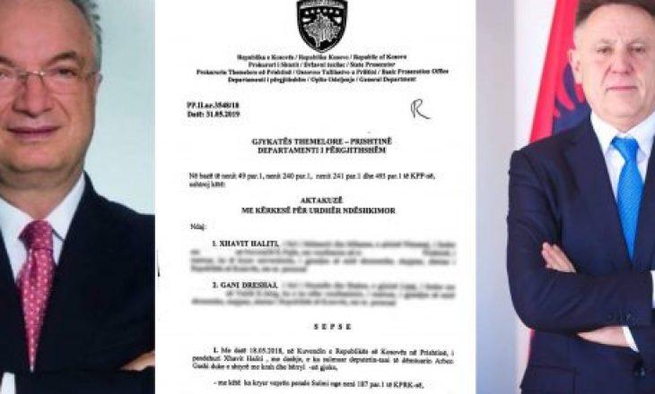 Prokuroria ngrit aktakuzë ndaj Xhavit Halitit dhe Gani Dreshajt