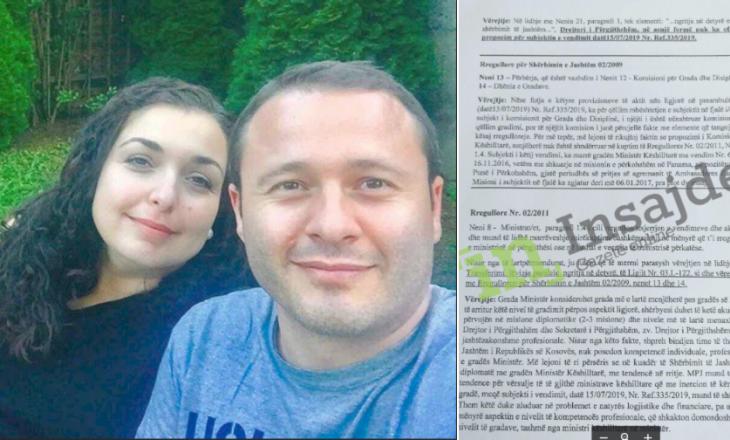 Ministria e Behgjet Pacollit gradon kundërligjshëm bashkëshortin e Vjosa Osmanit
