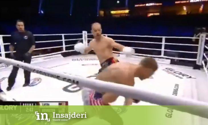 Me një goditje boksieri shqiptar e rrëzon përtokë kundërshtarin