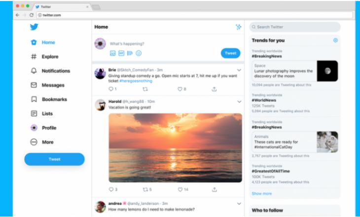 Twitter me dizajn të ri
