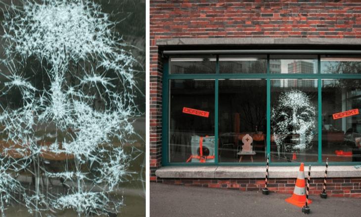 Marangozi zviceran krijon portrete në xhamat e thyera
