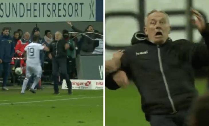 Ndëshkim i rëndë për kapitenin e Frankfurtit, për shtyrjen dhe rrëzimin e trajnerit të Freiburg