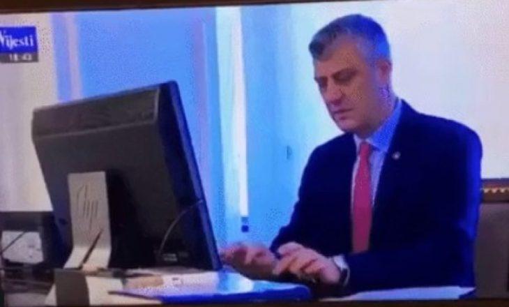 Mediumi britanik: Thaçi duke shkruar fjalëkalimin në PC, ndër huqjet më të mëdha të sigurisë kibernetike