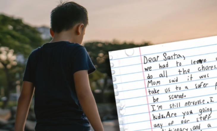 Letra e djali të vogël që jeton në shtëpinë e grave të abuzuara seksualisht ka prekur botën: Kjo është kërkesa e tij për babadimrin