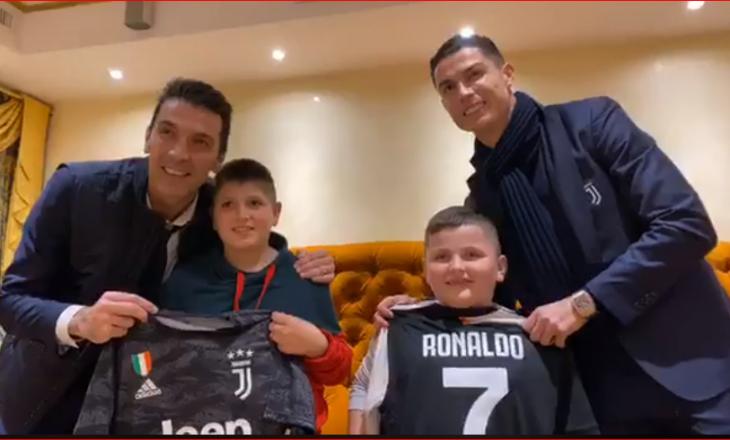 Edi Rama realizon ëndrrën e dy fëmijëve të mbijetuar nga tërmeti, i takon me Ronaldon e Buffonin