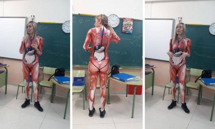 Mësuesja vesh kostumin interesant vetëm që t'ua mësojë nxënësve biologjinë