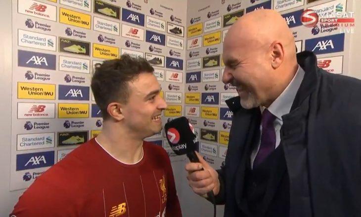 Intervista pas ndeshjes me Evertonin, gazetari shkrihet së qeshuri me Shaqirin