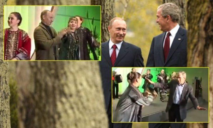 Foto arkivë, Putin dhe Bush duke vallëzuar në të njëjtën skenë