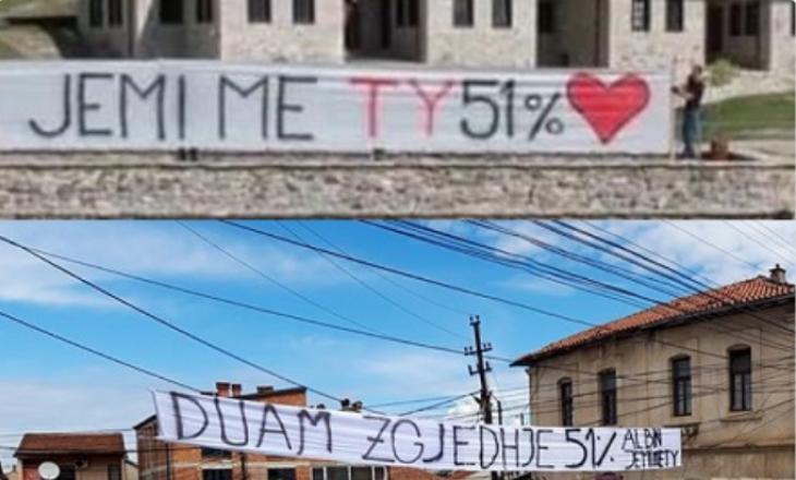 """Prizreni mbulohet me pankarta """"Zgjedhje në qershor"""", """"Albin jemi me ty, 51%"""""""