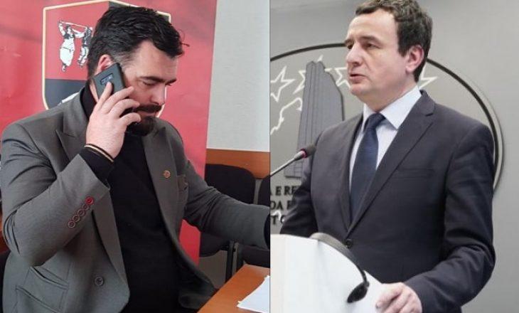 Kurti zhvillon bisedë telefonike me Kryetarin e Këshillit Kombëtar të Shqiptarëve të Luginës
