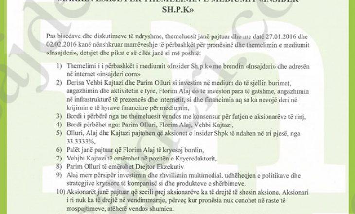 """""""Dosja Olluri-Kajtazi"""" Pjesa I: DOKUMENT – E vërteta e pronësisë së Insajderi.com dhe mashtrimi që Olluri dhe Kajtazi ia bënë publikut"""