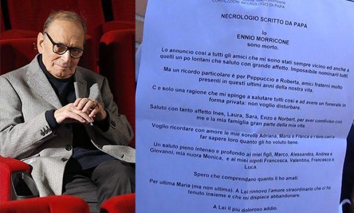 Lamtumira e shkruar e kompozitorit italian
