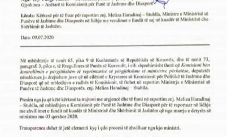 Deputetët e Vetëvendosjes i kërkojnë Meliza Haradinajt  raportim para komisionit parlamentar për punë të jashtme