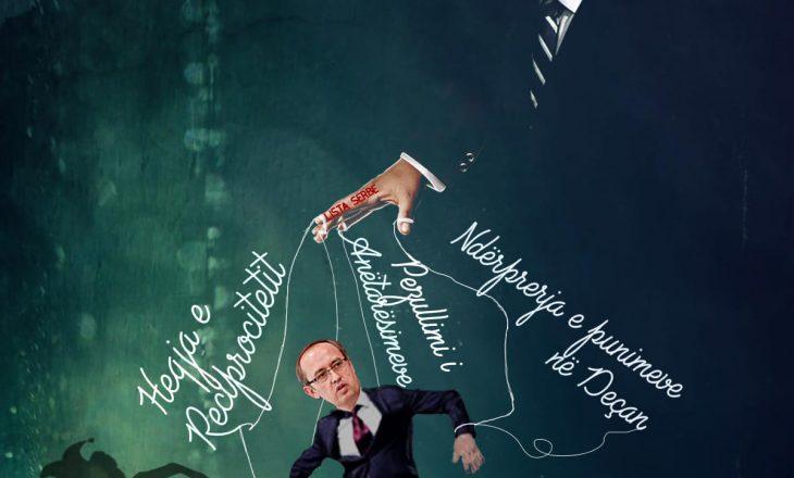 VV-ja përmes një fotomontazhi e paraqet Hotin marionetë të Vuçiqit