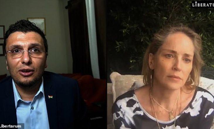 Sharon Stone qan gjatë bisedës me doktorin sirian për efektet e Covid te refugjatët