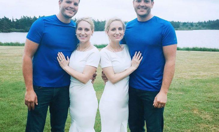 Motrat binjake identike që u martuan me vëllezër binjakë identikë, të dyja shtatzënë
