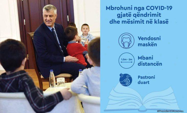 Thaçi uron nxënësit duke i këshilluar