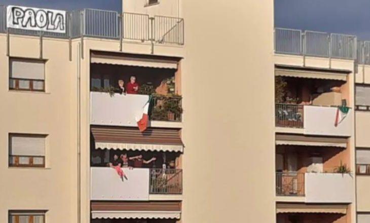 U dashuruan gjatë karantinës nga ballkonet e tyre, çifti italian fejohet