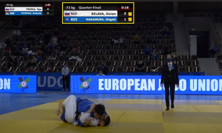Nakamura që përfaqëson Kosovën e mposht xhudistin serb Stanojeviq dhe arrin në finale