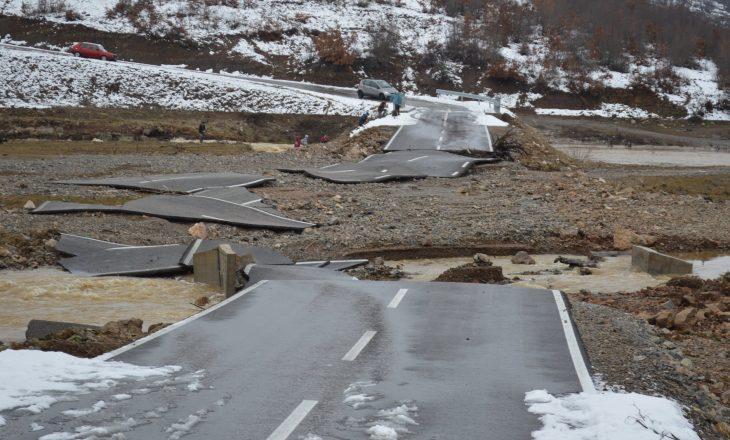 Vërshimet e shkatërruan rrugën në Malishevë – Berisha fajëson Ramën