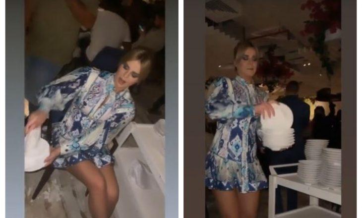 Kejvina Kthella përplas e thyen pjata në Dubai