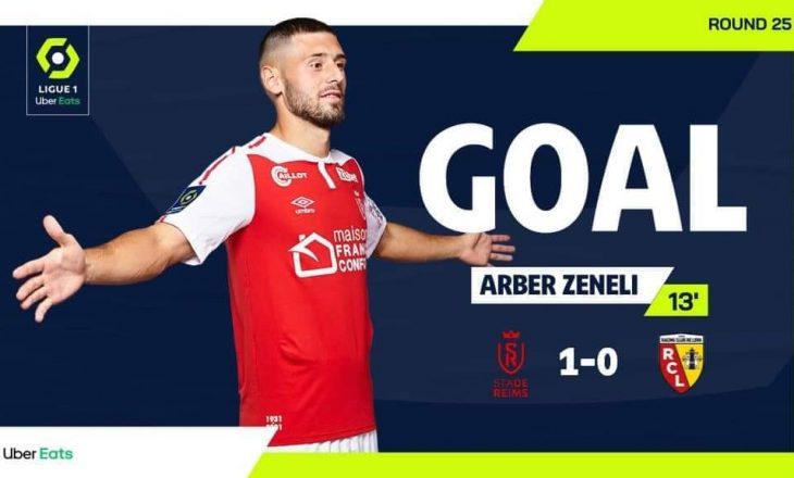 Zeneli shënon gol për Reims në Ligue 1 ndaj ekipit Lens