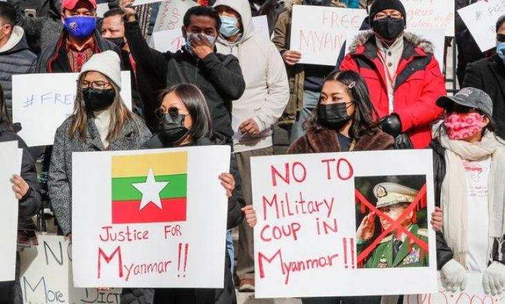 Tubime të mëdha në Mianmar në ditën e nëntë të protestave ndërsa ushtria rrit arrestimet