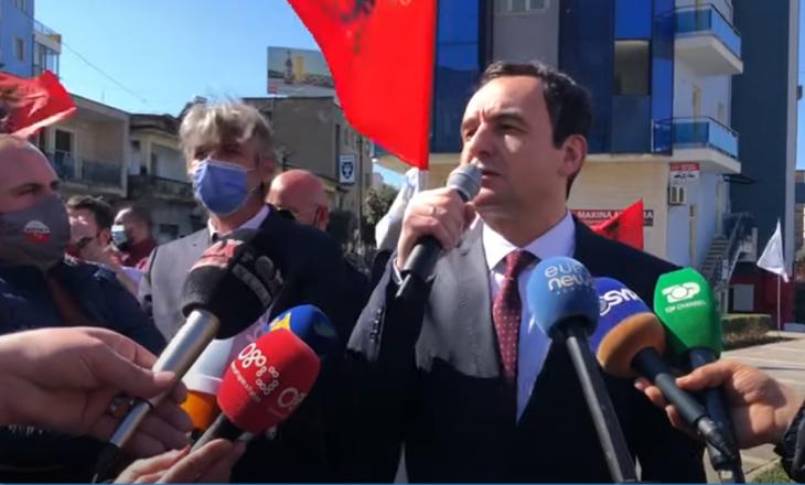 Kurti në Lezhë: Na ndalon Kushtetuta për bashkim kombëtar