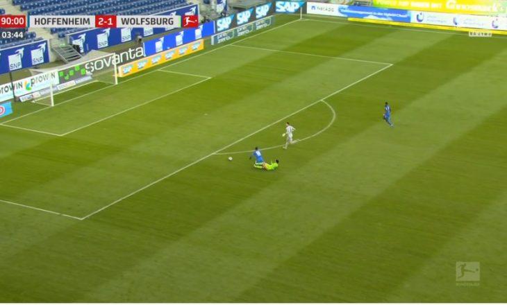 Ndërhyrje 'horror' e lojtarit të Wolfsburg në sfidën ndaj Hoffenheim