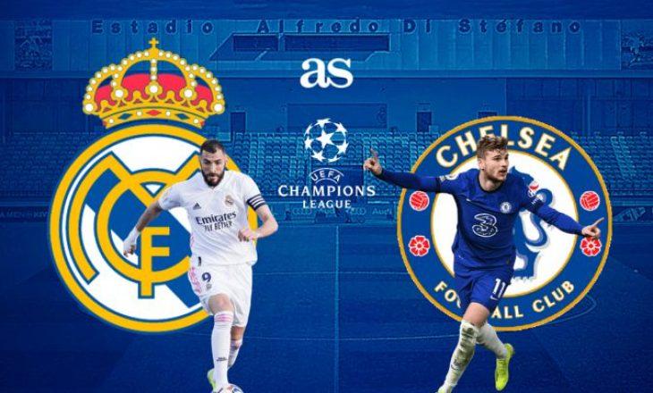 Formacionet e ndeshjes së parë gjysmëfinale në Champions League mes Real Madrid dhe Chelsea
